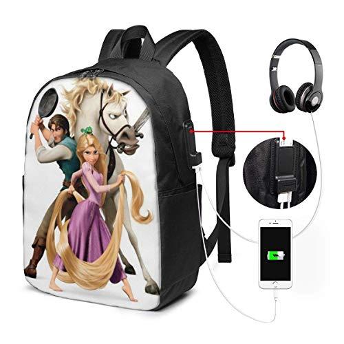 BGDFN Rapunzel - Mochila para portátil con puerto de carga USB, estilo casual, impermeable, se adapta a la mayoría de portátiles y tabletas de 1715,6 pulgadas, para trabajo, viajes, escuela, etc