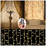 Battery Operated Curtain String Lights,300 LED Icicle Window Background Fairy Lights Decoration Lights for Wedding,Camping,BBQ (Warm White)