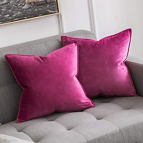 MIULEE Pack of 2 Velvet Soft Decorative Square Throw Pillow Case Flanges Cushion Covers Pillowcases for Livingroom Sofa Bedroom with Invisible Zipper 45cm x 45cm 18x18 Inch Set of Two Hot Pink