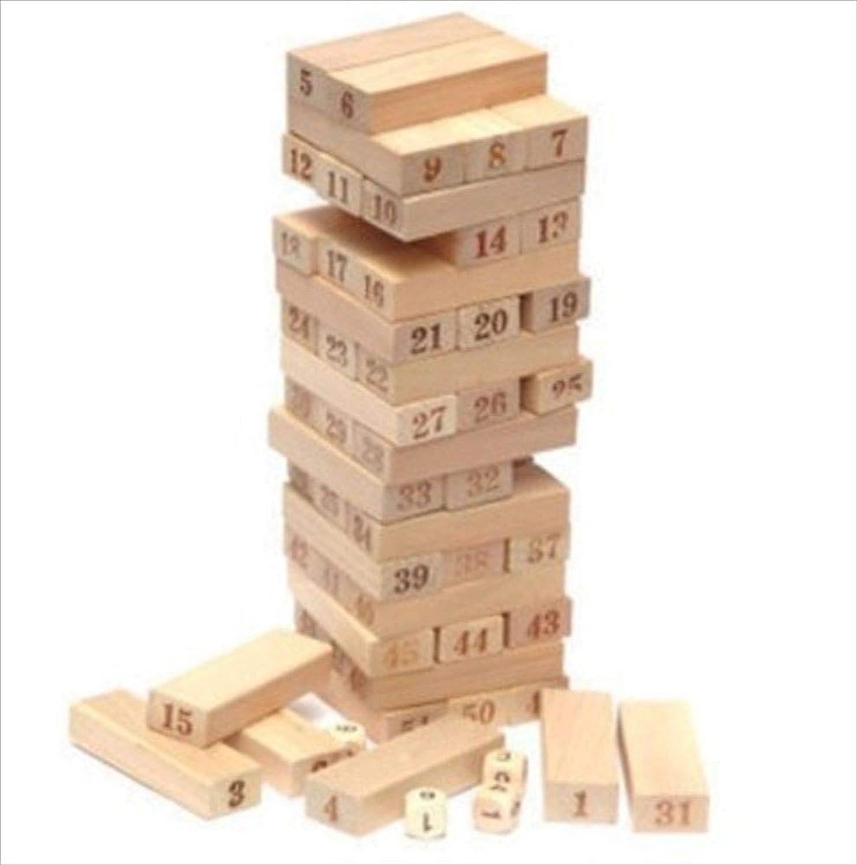 HoRoPii 木製 ジェンガ 積み木 キューブ ドミノ ブロック (サイコロ付き)2019年バージョン