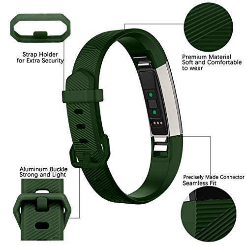Maledan Replacement Bands Compatible for Fitbit Alta, Alta HR and Fitbit Ace, Classic Accessories Band Sport Strap for Fitbit Alta HR, Fitbit Alta and Fitbit Ace, 3 Pack, Black/Blue/Green, Small