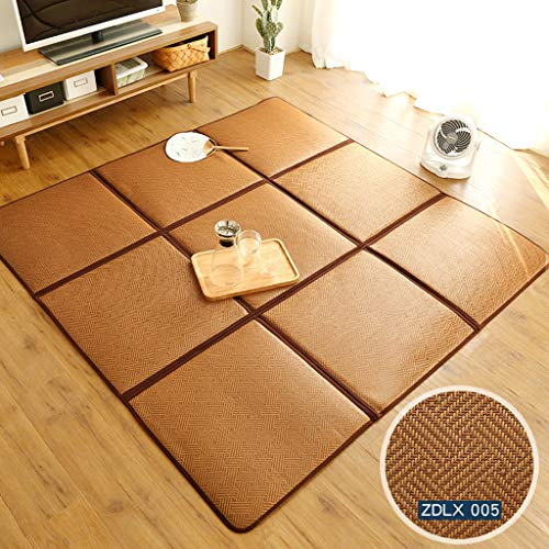 Shafajnc Vloerkleed van bamboestok, mat tatami, gemakkelijk op te vouwen, anti-slip rubberen onderlegger, tapijt voor slaapkamer, woonkamer, kindertapijt
