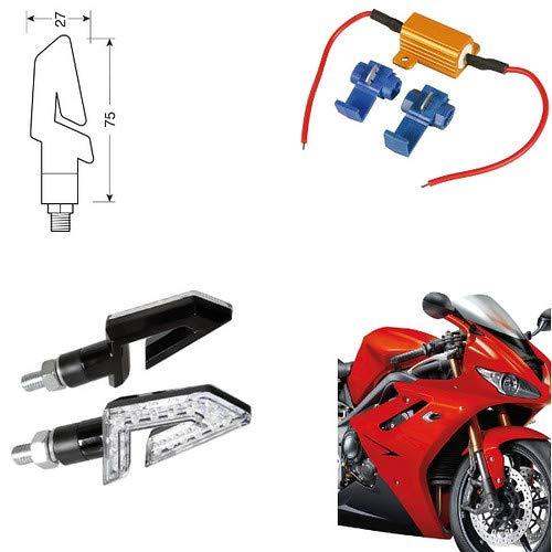 90246+61 Paire de Clignotants universels pour Moto Honda CBF 600 N Indicateurs de Direction Résistance homologuée Noir