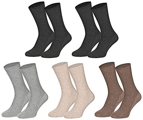 10 Paar Gesundheitssocken Baumwolle ohne Gummidruck für Damen und Herren, Farbe:Farbig sortiert;Größe:35-38