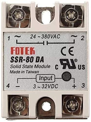 MUKUAI31 DC to AC 24V-380V Output 80A SSR-80DA Solid State Relay Module Module DIY