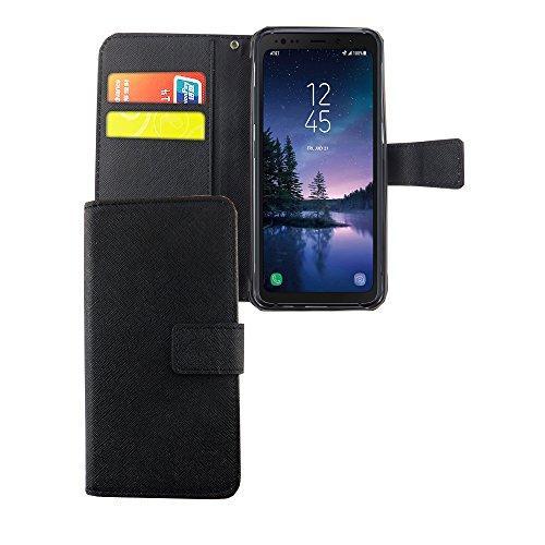 König Design Handyhülle Kompatibel mit Samsung Galaxy S8 Active Handytasche Schutzhülle Tasche Flip Hülle mit Kreditkartenfächern - Onyx Schwarz