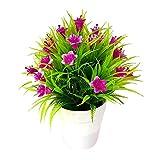 Yunnuopromi - Maceta de flores artificiales (1 unidad), color morado y rojo