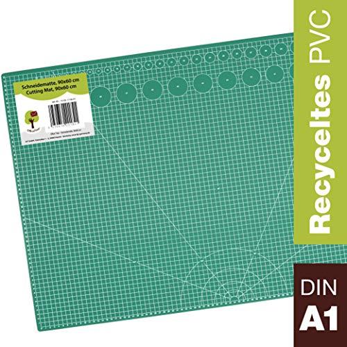 OfficeTree Schneidematte A1 selbstheilend - Grün - 90x60 cm - Cutting Mat mit beidseitigen Rastern und Markierungen für professionelle Schnitte - PVC 3-lagig recycelbar (Grün)