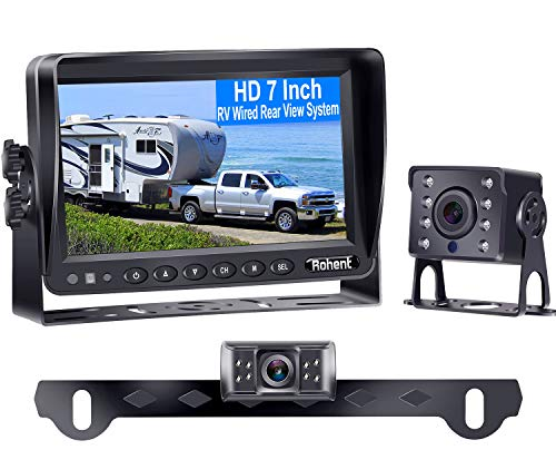 Rohent HD 2 Backup Cameras Kit 7 Inch Monitor Hitch Driving Rear View High-Speed Observation System for RVs,Trucks,Trailers, Campers,5th Wheels Super Night Vision Waterproof IP69K R4