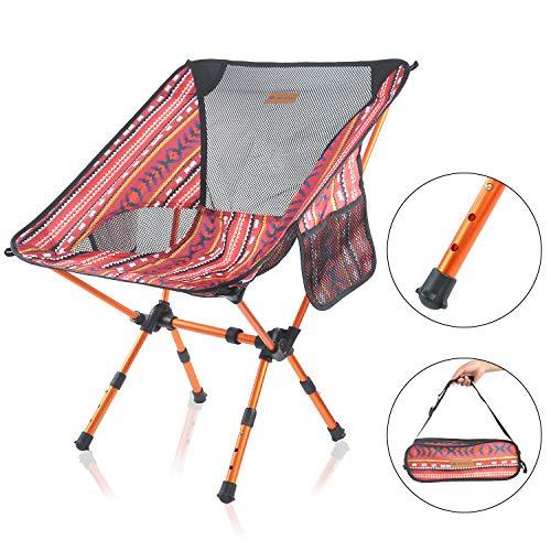 MECHHRE アウトドアチェア キャンプ 椅子 3段階伸縮調節 両側収納袋付き 超軽量 ローチェア 組立簡単 収納バッグ付き お釣り 登山 携帯便利 折りたたみ椅子