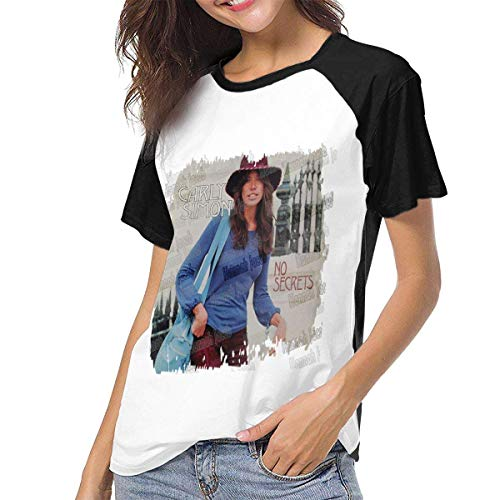 Kmehsv Camiseta para Mujer,Camisas Mujer Blusas Manga Corta Carly Simon No Secrets Womens Short Sleeve Raglan Baseball T Shirts Black