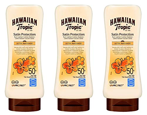 Hawaiian Tropic - Satin Protection Ultra Radiance SPF 50+ - Lotion solaire très haute protection, protège et adoucit la peau, parfum de fruits tropicaux, pack de 3 unités x 180 ml