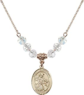 Bonyak Jewelry 18 Inch Hamilton Gold Plated Necklace w// 4mm Green May Birth Month Stone Beads and Claddagh Charm