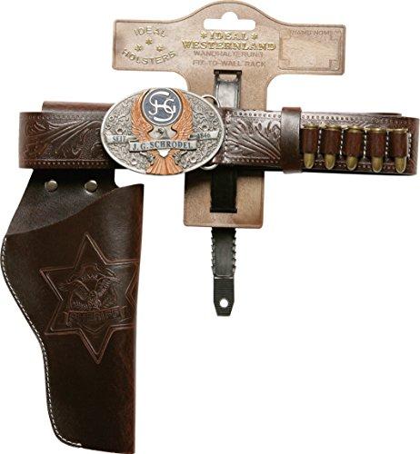 PARTY DISCOUNT J.G.Schrödel Gürtel Marshall, 1 Holster: Pistolengürtel aus Lederimitat und Metall für Spielzeugpistolen, Länge 135 cm, dunkelbraun (750 0128XL)