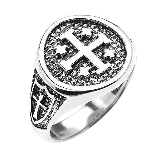 925 Sterling Silver Knights Templar Shield Crusader Band Jerusalem Cross Ring for Men (Size 13.5)