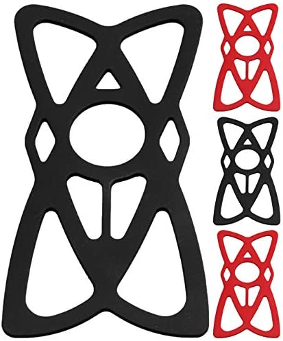 4-Pack Bike Motorcycle Phone Mount Tether – X Web Grip Silicone Cell Phone Holder Band – Universal Elastic Rubber Security Strap for Mountain & Road Sports Bicycle Handlebar Cradle (2 Black & 2 Red)