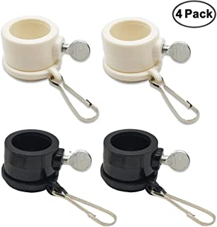 IHUIXINHE 4 Pcs Flag Pole Mounting Rings 360 Degree Free Rotating Adjustable Fasteners Sturdy Flag Pole Rings with Metal Clips for 0.86 Inch Diameter Flagpole, White,Black