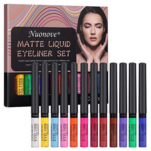 Matte Liquid Eyeliner, Eyeliner Pen, Eyeliner Wasserfest, Eyeliner, Bunter flüssiger Eyeliner-Stift für Cosplay und ein anderes Aussehen, einfach zu färben, wasserdicht, wischfest, 12 Farben