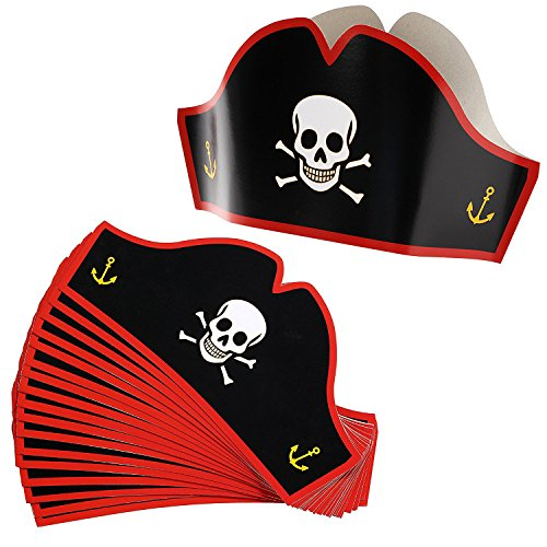 Review Of Juvale Cardboard Pirate Hats - Adjustable Party Hats for Halloween Pretend Play Party Favo...