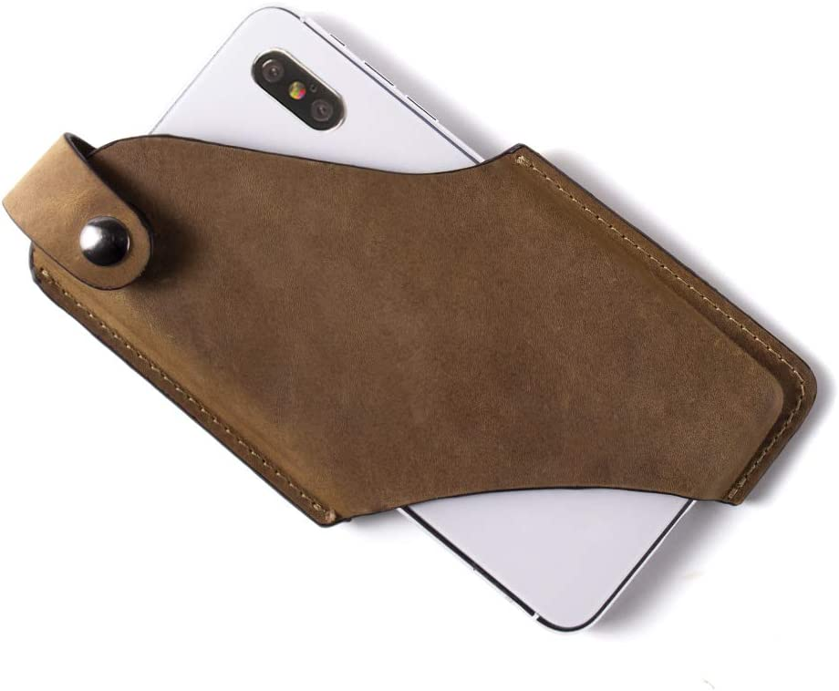 Gentlestache Leather Phone Holster, Phone Holder for Belt Loop, Cell Phone Cases, Leather Belt Pouch with Magnetic Button Brown