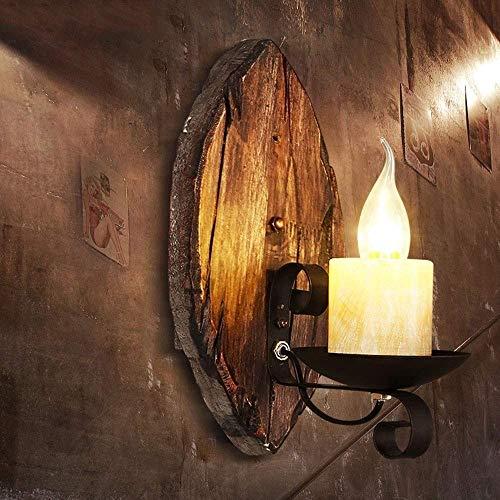 Iluminación de pared ligera para sala de estar. Retro madera sólida cubierta aplique de la pared de iluminación, luces de la pared del dormitorio en Hogar y KitchenWall lámpara fijado en pared Lantern