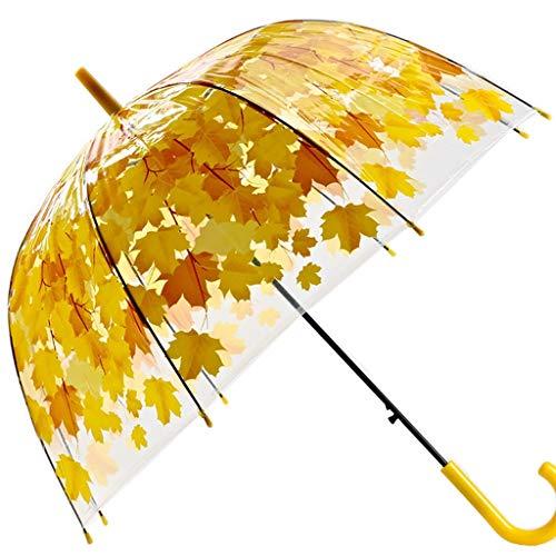 DJDL Schirme Transparenter Starker PVC-Pilz-Grün-Blatt-Regen Transparenter Blatt-Regenschirm Umbrella (Farbe : Gelb)