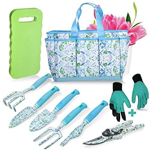 Juego de herramientas de jardín de 9 piezas de jardinería kit de herramientas de mano regalo para mujeres y padres jardinería suministros con guantes, totalizador, almohadilla de rodillas, podador de mano, paleta, rastrillo de mano, hierba, tenedor, transplantador