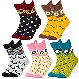 Novelty Socks Cotton Crew Unicorn Owl Cat Farm Princess Mermaid Socks – Cartoon Animal Funny Socks - Funky My Story Socks - 5 Pack Socks Gift Box Size 4-8 (4-7, Multicolour Owl)