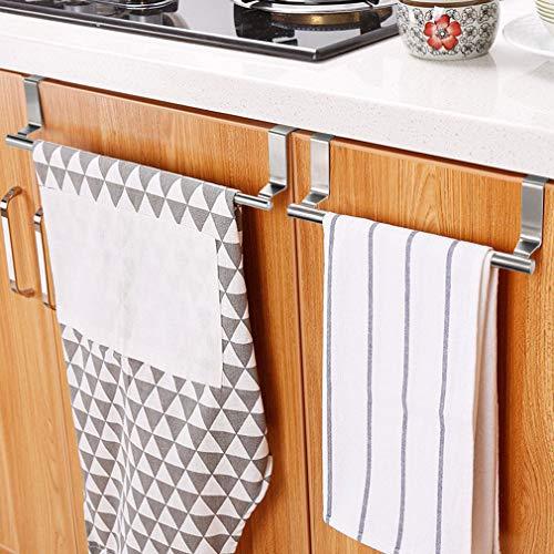 KINLO 2er-Set Geschirrtuchhalter ohne Bohren, Handtuchhalter zum Einhängen für die Küche - Handtuchstange aus Edelstahl Küchenschrank Türhandtuchhalter geeignet für die Küche/Bad/Wohnzimmer