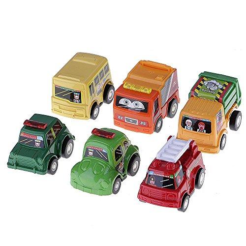 6 Types Mini Véhicles Modèles Plastique Pull Back Vehicles Truck Jeu de Jouets Educatifs Cadeau pour Enfants(Motifs Random)