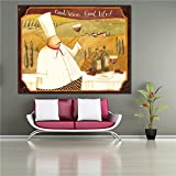 wtnhz Sin Marco Pittura Decorativa Poster e Stampa Chef and Soup Canvas Painting For Kitchen Restaurant Wall Art Home Decor 40x50cm