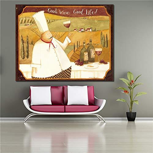 Frameloos Decoratief schilderij Poster en print Chef en soep Canvas schilderij voor keuken Restaurant Wall Art Home Decor <> 40x50cm
