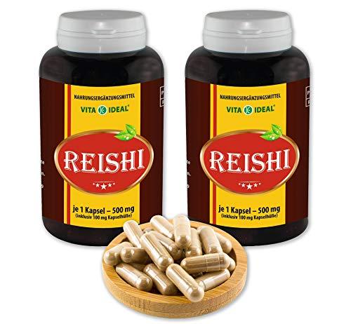 VITAIDEAL ® Reishi Pilz Extrakt (Ling-Zhi, Ganoderma lucidum) 2x360 Kapseln je 500mg, aus rein natürlichen Pilz Extrakten, ohne Zusatzstoffe von NEZ-Diskounter