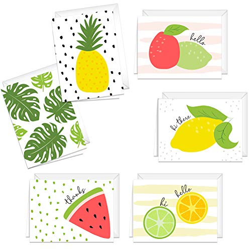 Fruit Notecards Adorable Illustrated / 24 All Occasion Greeting Cards And Envelopes/Six Bright Tropical Designs