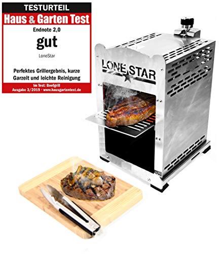 LoneStar Fleischmeister Edelstahl Beef Grill, Hochtemperatur Gasgrill, Beefmaker Oberhitzegrill bis 800°C, Gas Griller, Steak Grillen wie Profis, Steakgriller, Gasbrenner 3,8 KW, inkl. 4 Steakmesser