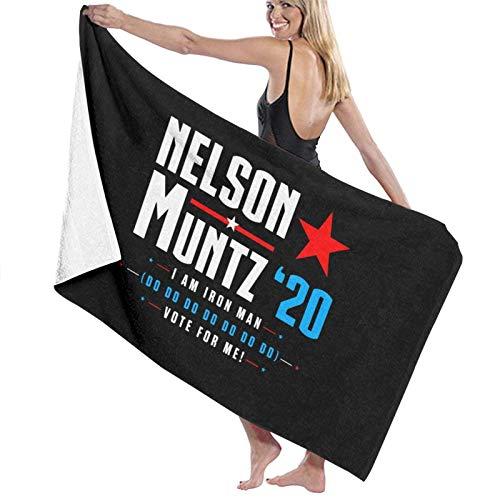 Toallas de playa para adultos, Vote Nelson Muntz 2020 Simpsons Election Toallas de playa para adultos, lindas y divertidas toallas de baño para adultos para correr, acampar, deportes, 80x130cm