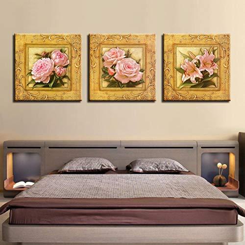 QWERGLL 3 Panel HD Hd Drucke Leinwand Poster Arbeiten 3 Stücke Rosa Pfingstrose Rose Lilie Gemälde Wandkunst Blumen Bilder Für Wohnzimmer