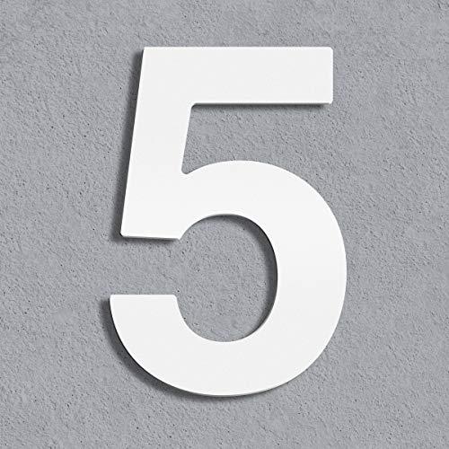 Thorwa® Design Edelstahl Hausnummer, weiß weiss beschichtet, inkl. Montagematerial/H: 160 mm/RAL 9003 / Witterungsfest (5)