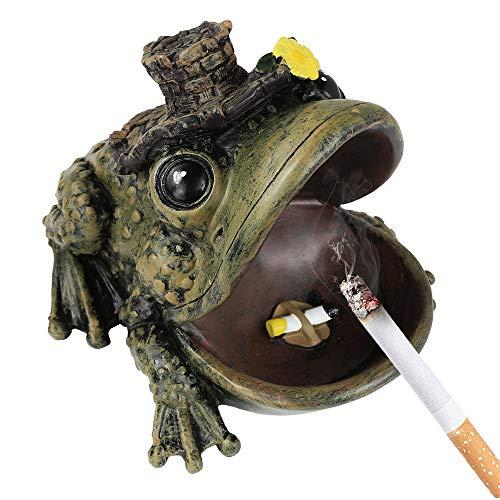 Imagen del producto Cenicero para cigarrillos a prueba de viento con tapa para el hogar o al aire libre, diseño de rana