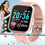 Peakfun Smart Watch,Fitness Watch Activity Tracker with Heart Rate Blood Pressure Monitor IP67 Waterproof Touch Screen Bluetooth Smartwatch Sports Watch for Android iOS Phones Men Women Kids Pink