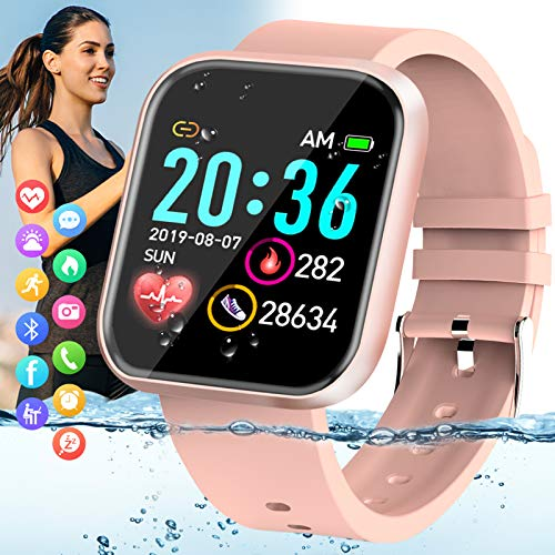 Pradory Smart Watch,Fitness Watch for Women Activity Tracker with Heart Rate Blood Pressure Monitor IP67 Waterproof Bluetooth Android Smartwatch Touch Screen Sports Watch for Android iOS Phones Pink