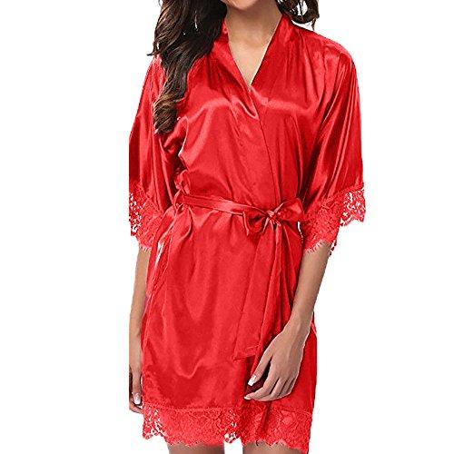 Dasongff dames satijnen ochtendjas kimono knielange lange badjas pyjama negligé nachthemd nachtkleding ondergoed V-hals met riem Large rood