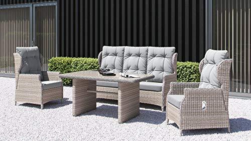 ARTELIA Bariyo Polyrattan Sitzgruppe Lounge Esstisch-Set - Premium Gartenmöbel-Set für Garten, Wintergarten und Balkon, Balkonmöbel, Terrassenmöbel, Sandfarben