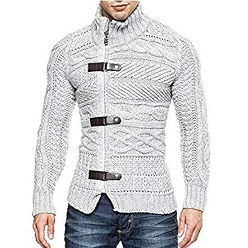 GAOHONGMEI Suéter de punto para hombre de punto, cárdigan de cuero con hebilla suéteres de invierno, casual, cálido, jersey de manga larga de punto, abrigo-gris-L