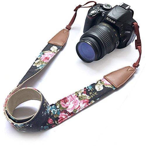 Alled Kamera Gurt Hals,Kamera Umhängeband Nacken Schultergurt Gürtel Tragegurt für Canon Nikon Sony Lumix Olympus Pentax Fujifilm Universal,Abnehmbar Schnellverschluss kameragurt (Rindsleder Schwarz)