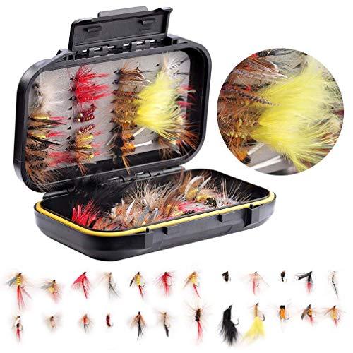 TOOGOO Fisch Fliegen Platte Kit - 72 Stück Handgefertigt Fliegenfischen K?der Trocken- / Nassfliegen, Streamer, Nymphe, Emerger Mit Wasserdichter Fliegenbox