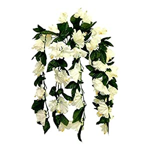 Cream/Ivory 26″ Hanging Hibiscus Bush Artificial Silk Flowers Wedding Arch Centerpiece Vines , for Wedding and Craft Supplies