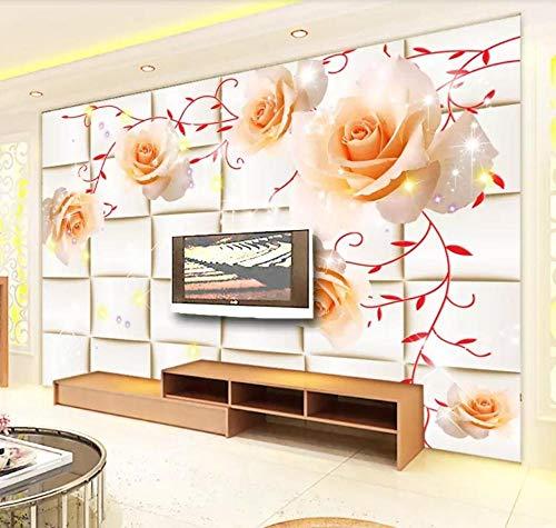 Tapete 3D Wandbild Traum Rose Plaid Fototapete 3D Effekt Vliestapete Wohnzimmer Wanddeko