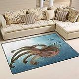 SunsetTrip Sea Ocean Octopus Tentáculo Alfombra náutica para sala de estar, dormitorio, alfombra moderna, antideslizante, suave al tacto, extra grande, lavable, 152 x 99 cm