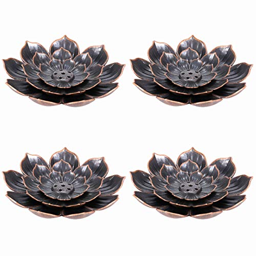 Lamoutor 4 Pieces Brass Lotus Stick Incense Burner Brass Incense Holder Cone Incense Burner Holder with Ash Catcher for Home Office Fragrance Accessories